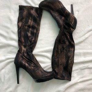 Carlos Santana snakeskin cloth knee high boots 8